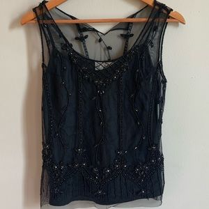 VINTAGE Scala Beaded Tops size S